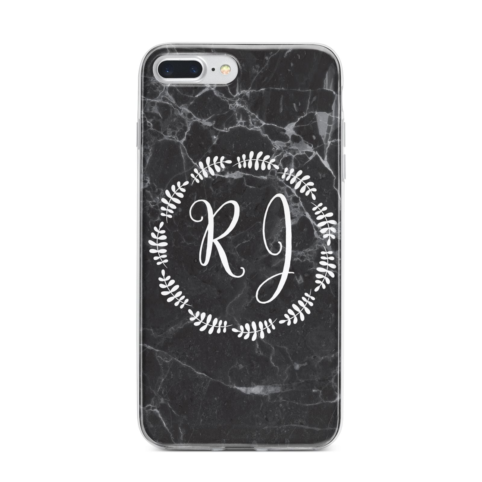 Marble Personalised Initials iPhone 7 Plus Bumper Case on Silver iPhone