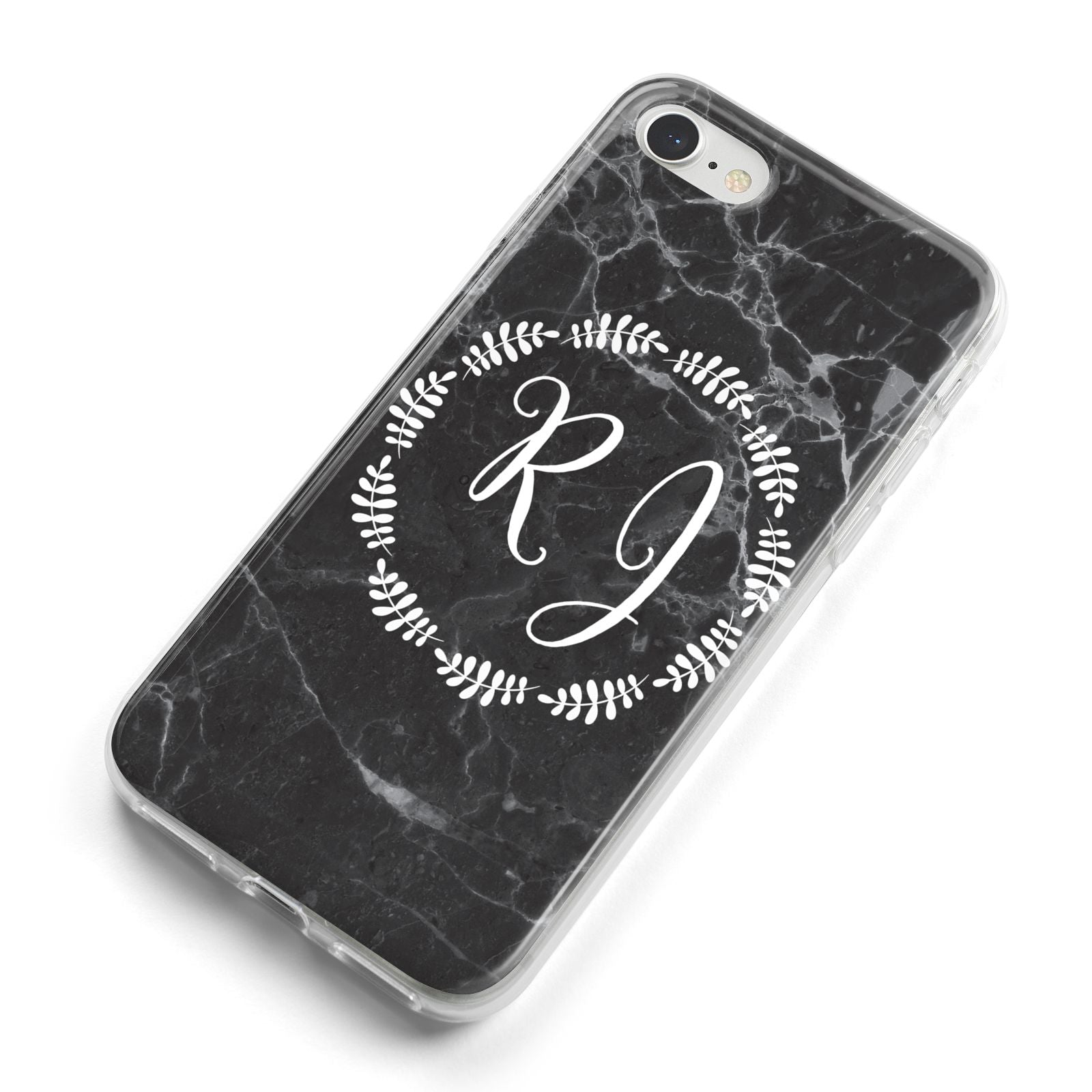 Marble Personalised Initials iPhone 8 Bumper Case on Silver iPhone Alternative Image