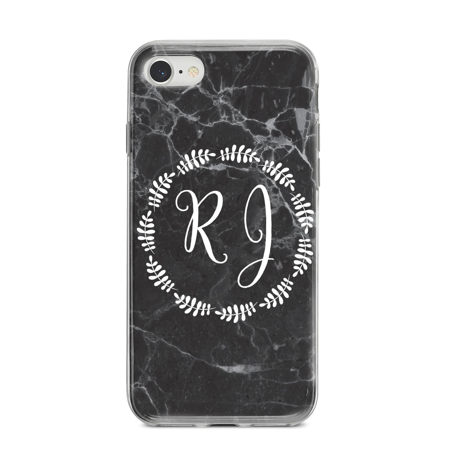 Marble Personalised Initials iPhone 8 Bumper Case on Silver iPhone