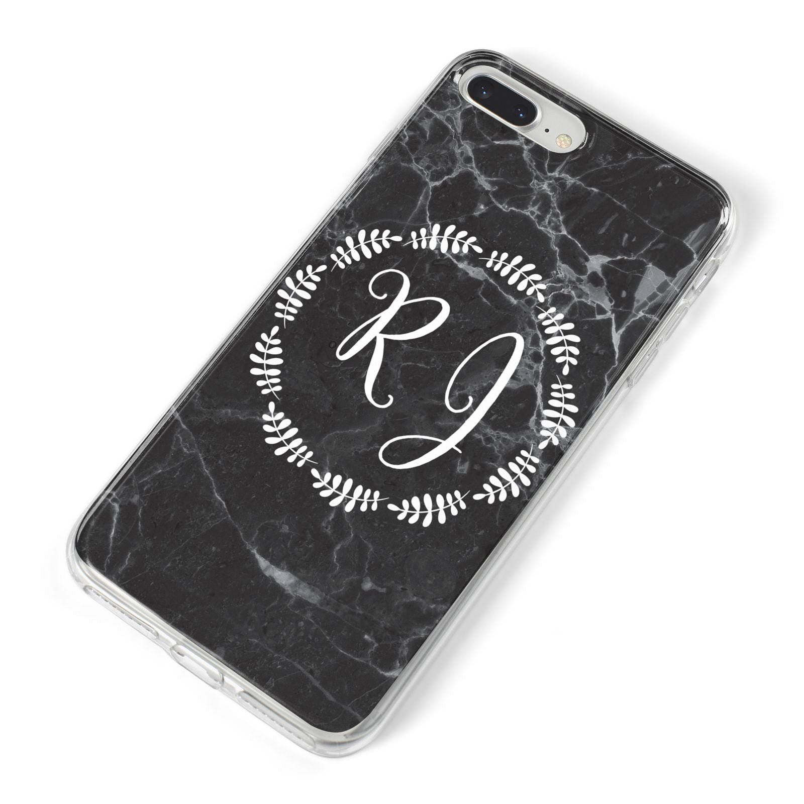 Marble Personalised Initials iPhone 8 Plus Bumper Case on Silver iPhone Alternative Image