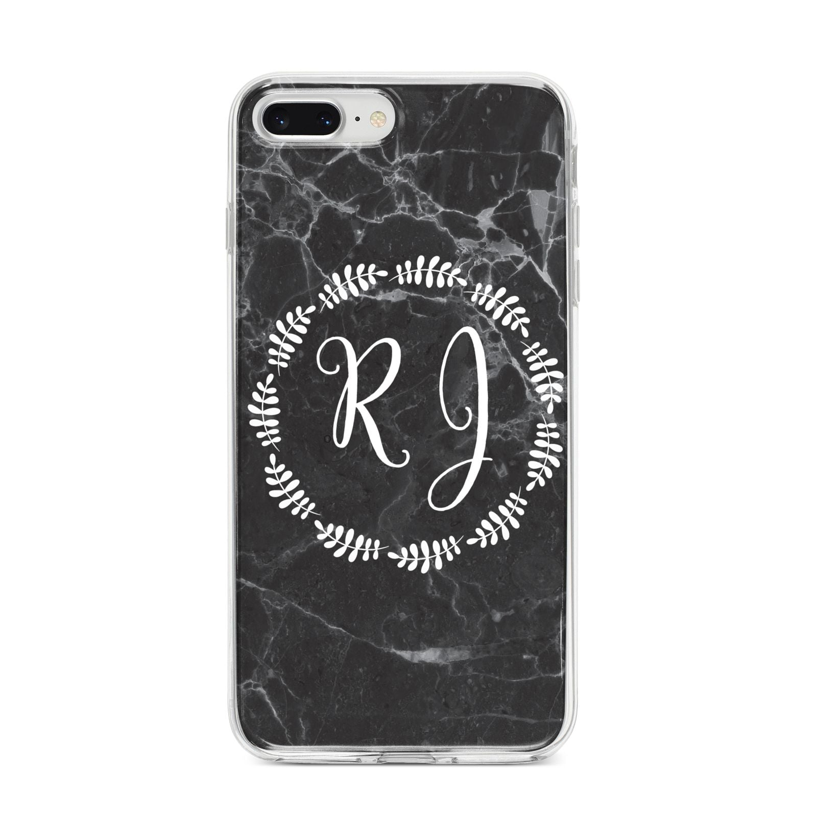 Marble Personalised Initials iPhone 8 Plus Bumper Case on Silver iPhone