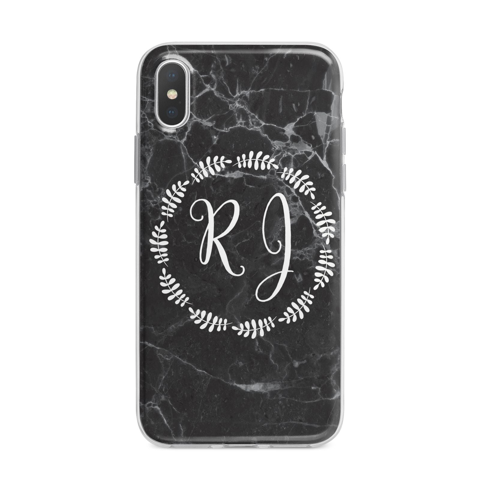 Marble Personalised Initials iPhone X Bumper Case on Silver iPhone Alternative Image 1