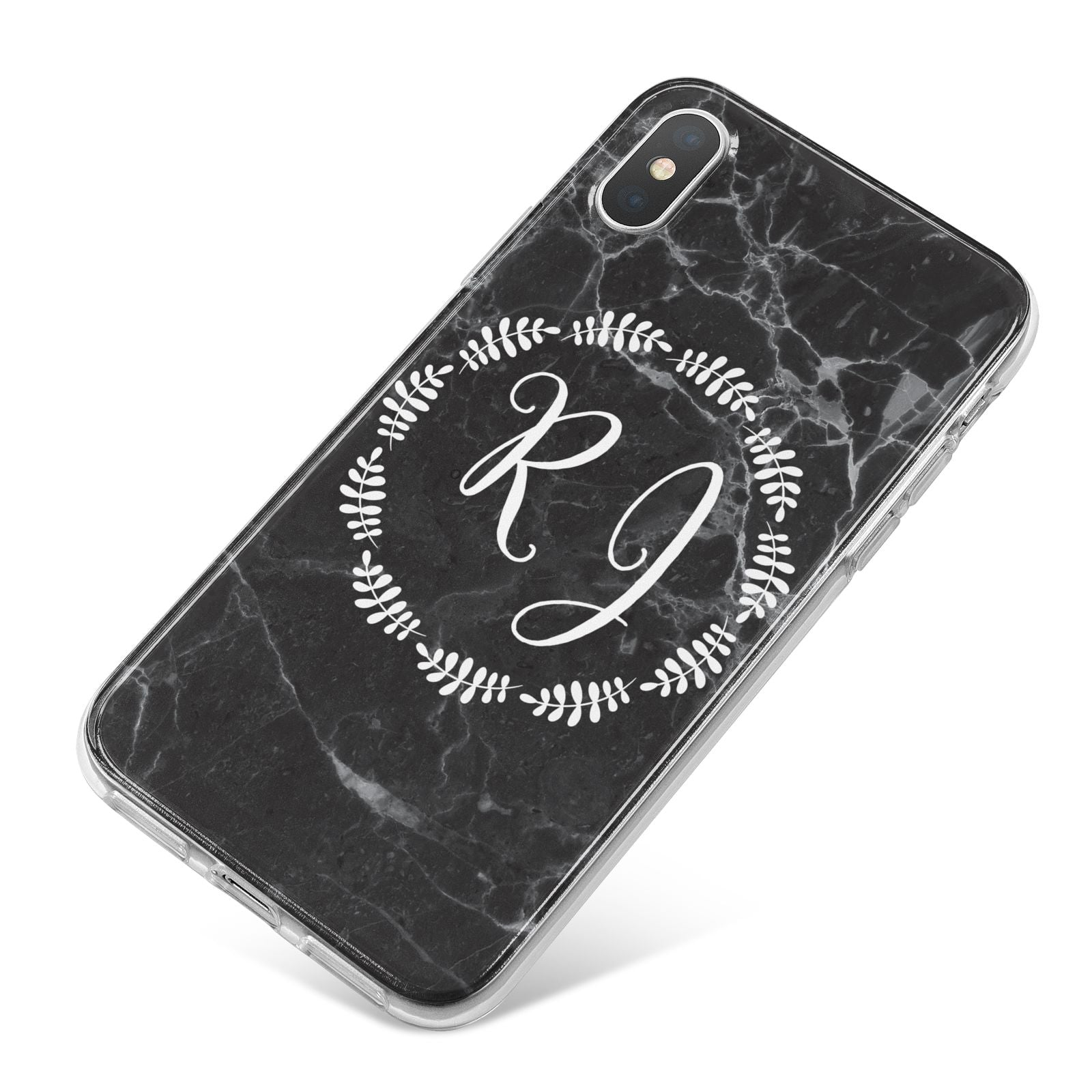 Marble Personalised Initials iPhone X Bumper Case on Silver iPhone