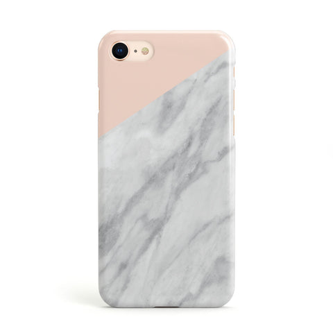 Marble Pink & White Grey Apple iPhone Case