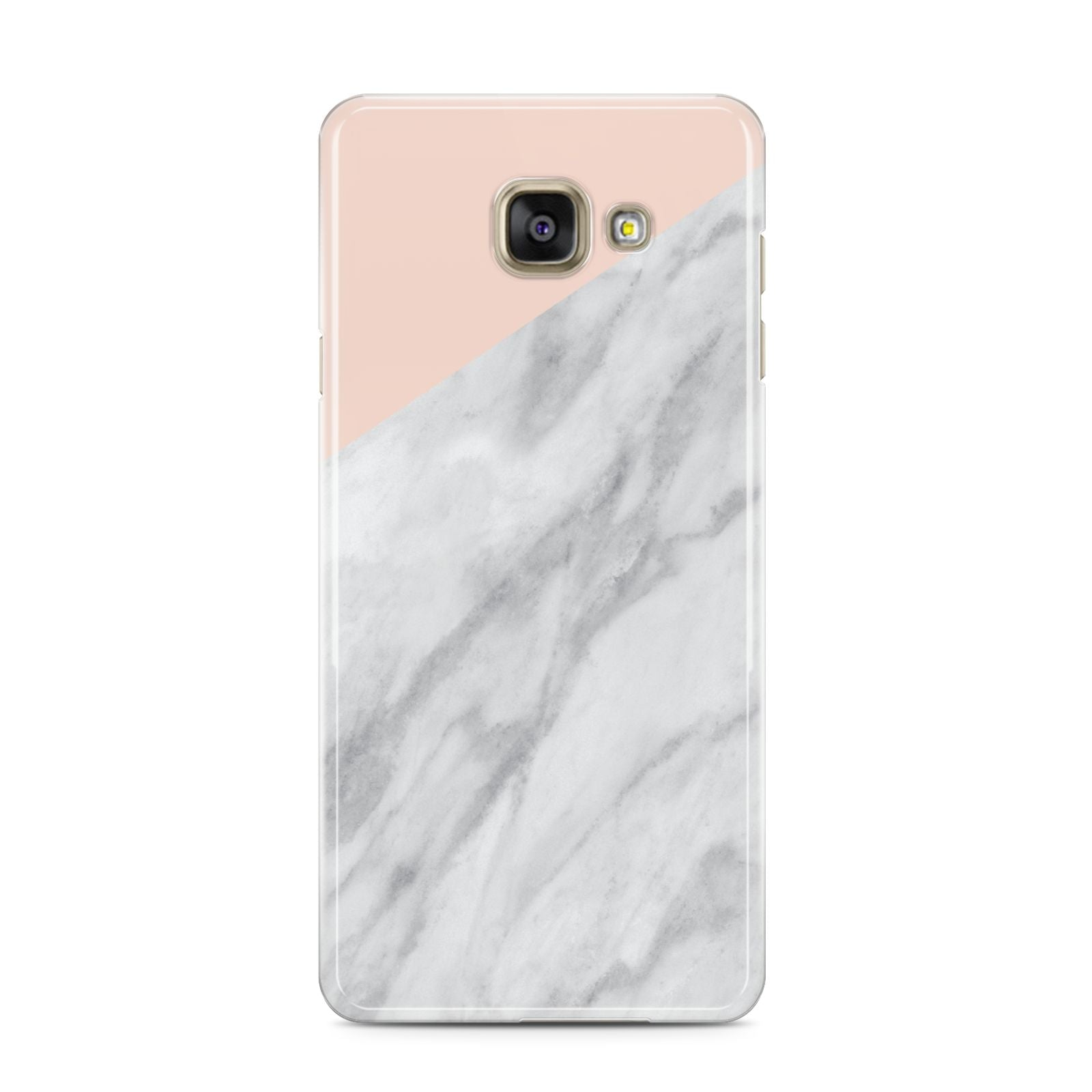 Marble Pink White Grey Samsung Galaxy A3 2016 Case on gold phone