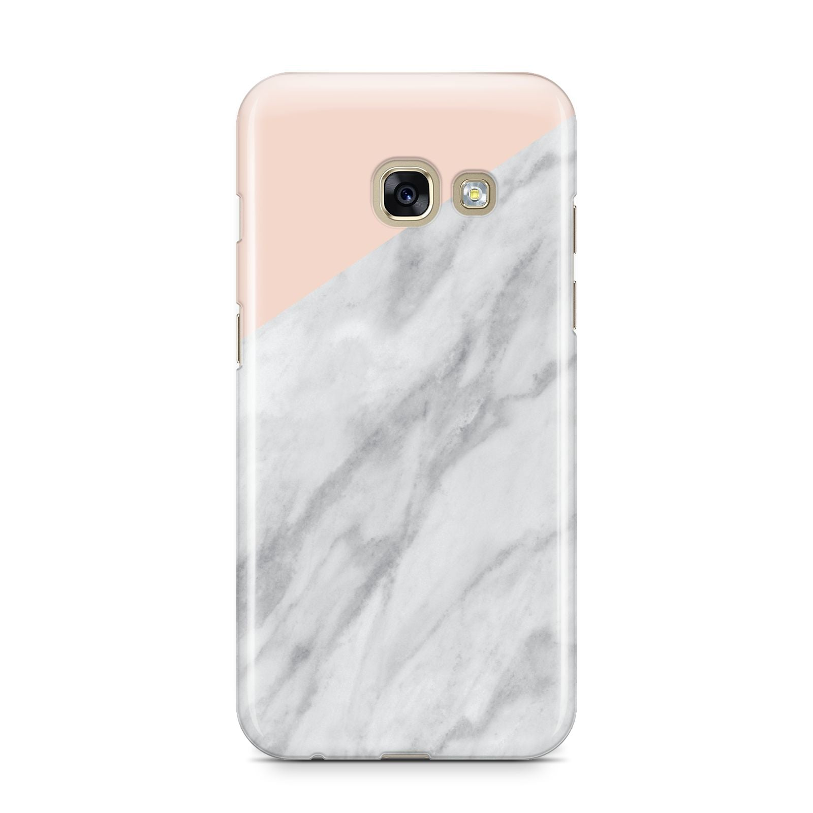 Marble Pink White Grey Samsung Galaxy A3 2017 Case on gold phone