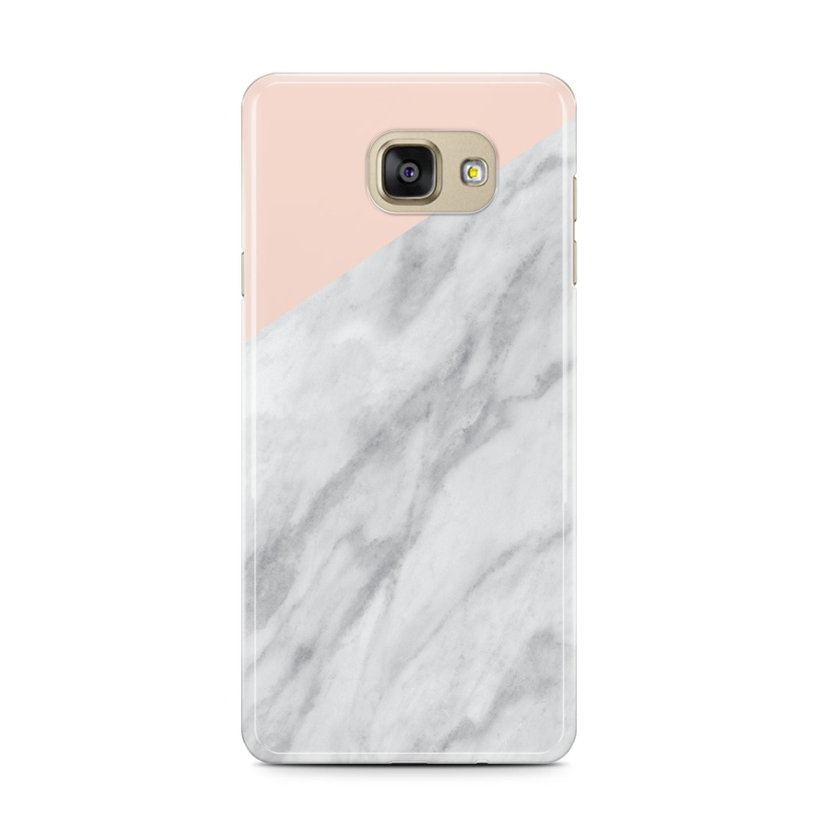 Marble Pink White Grey Samsung Galaxy A7 2016 Case on gold phone