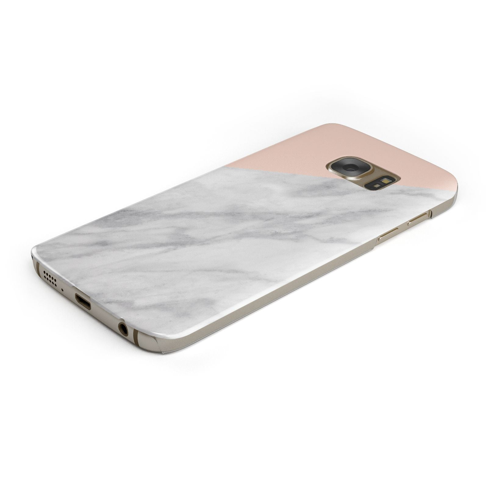 Marble Pink White Grey Samsung Galaxy Case Bottom Cutout