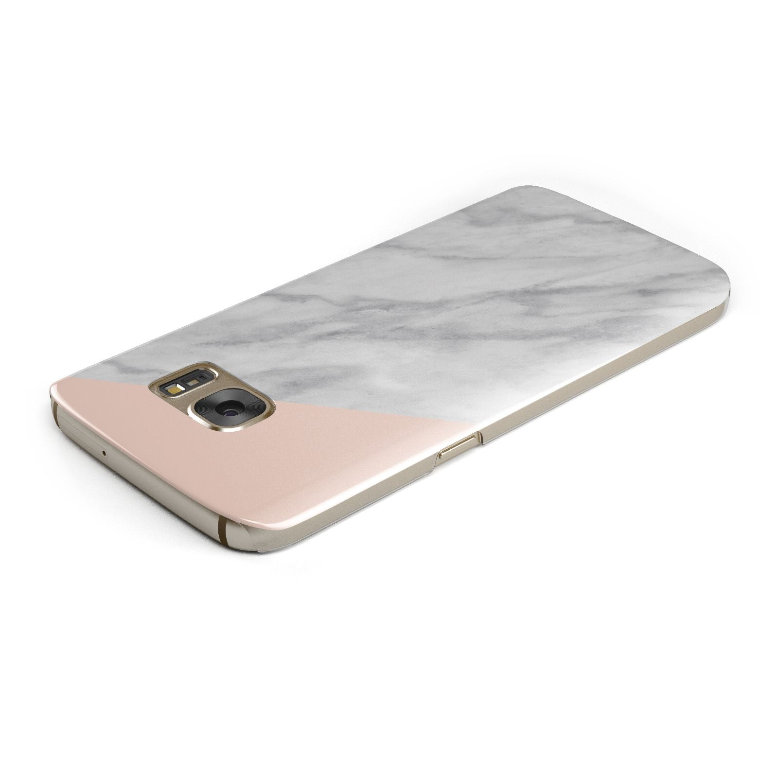 Marble Pink White Grey Samsung Galaxy Case Top Cutout