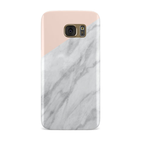 Marble Pink & White Grey Samsung Galaxy Case
