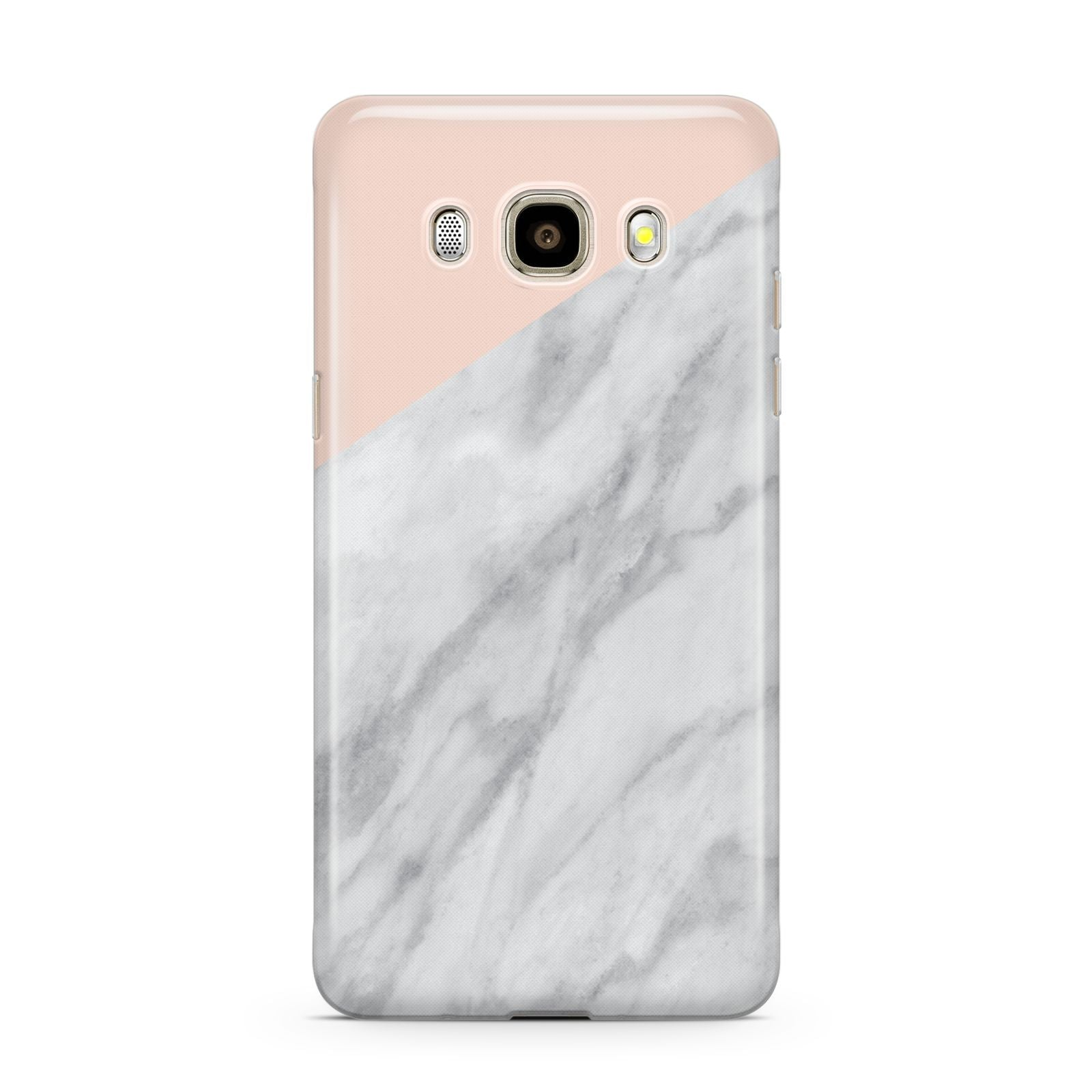 Marble Pink White Grey Samsung Galaxy J7 2016 Case on gold phone