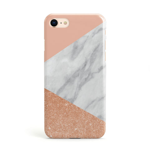 Marble Rose Gold Pink Apple iPhone Case