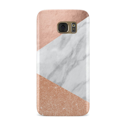 Marble Rose Gold Glitter Foil Samsung Galaxy Case