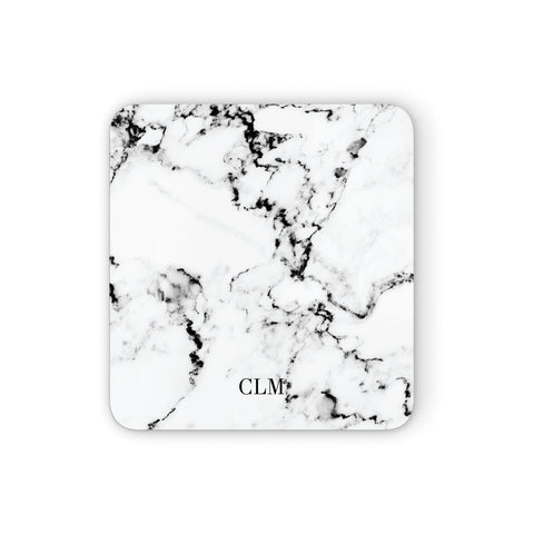 Marble Small Initials Personalised Coasters set of 4
