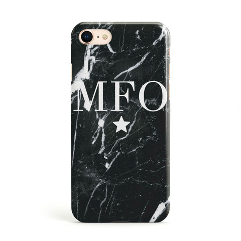 Marble Star Initials Personalised Apple iPhone Case