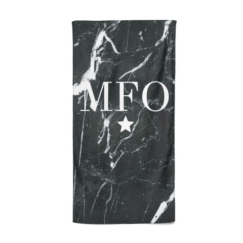 Marble Star Initials Personalised Beach Towel