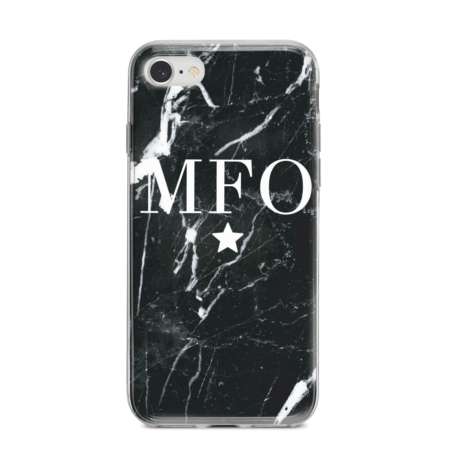 Marble Star Initials Personalised iPhone 8 Bumper Case on Silver iPhone