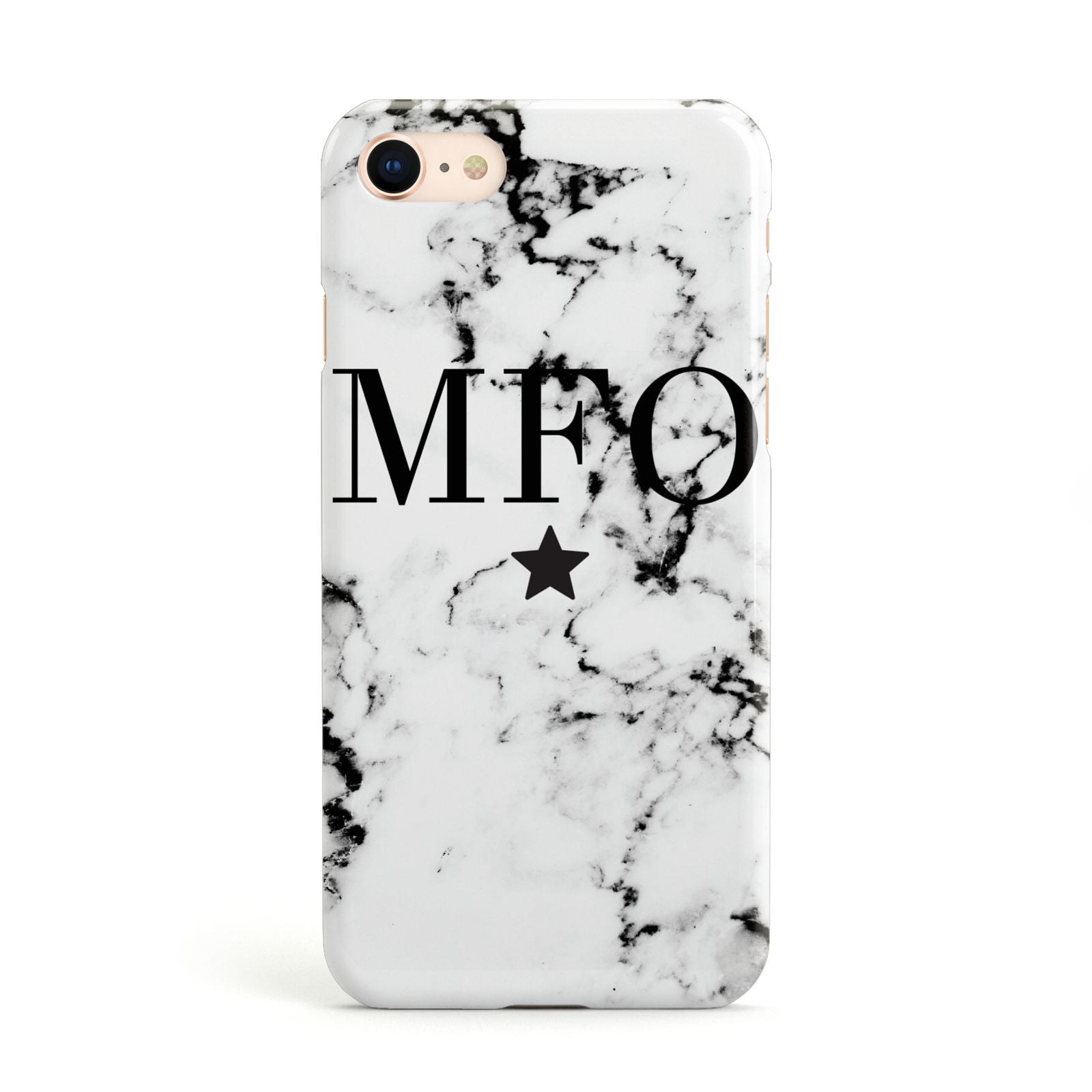 Marble Star Personalised Initials Apple iPhone Case