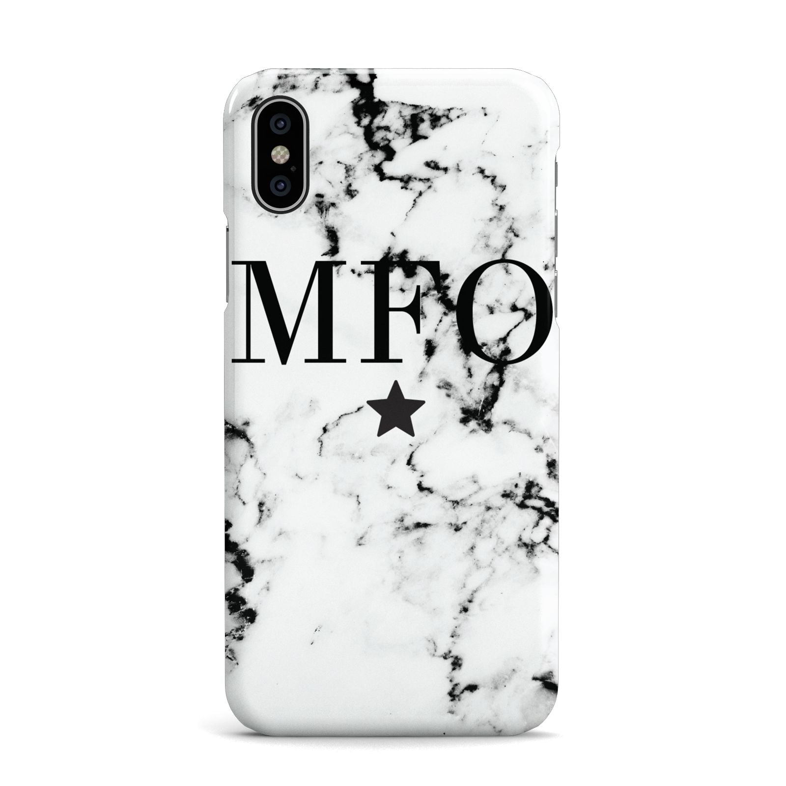 Marble Star Personalised Initials Apple iPhone X Case