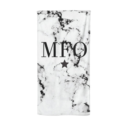 Marble Star Personalised Initials Beach Towel