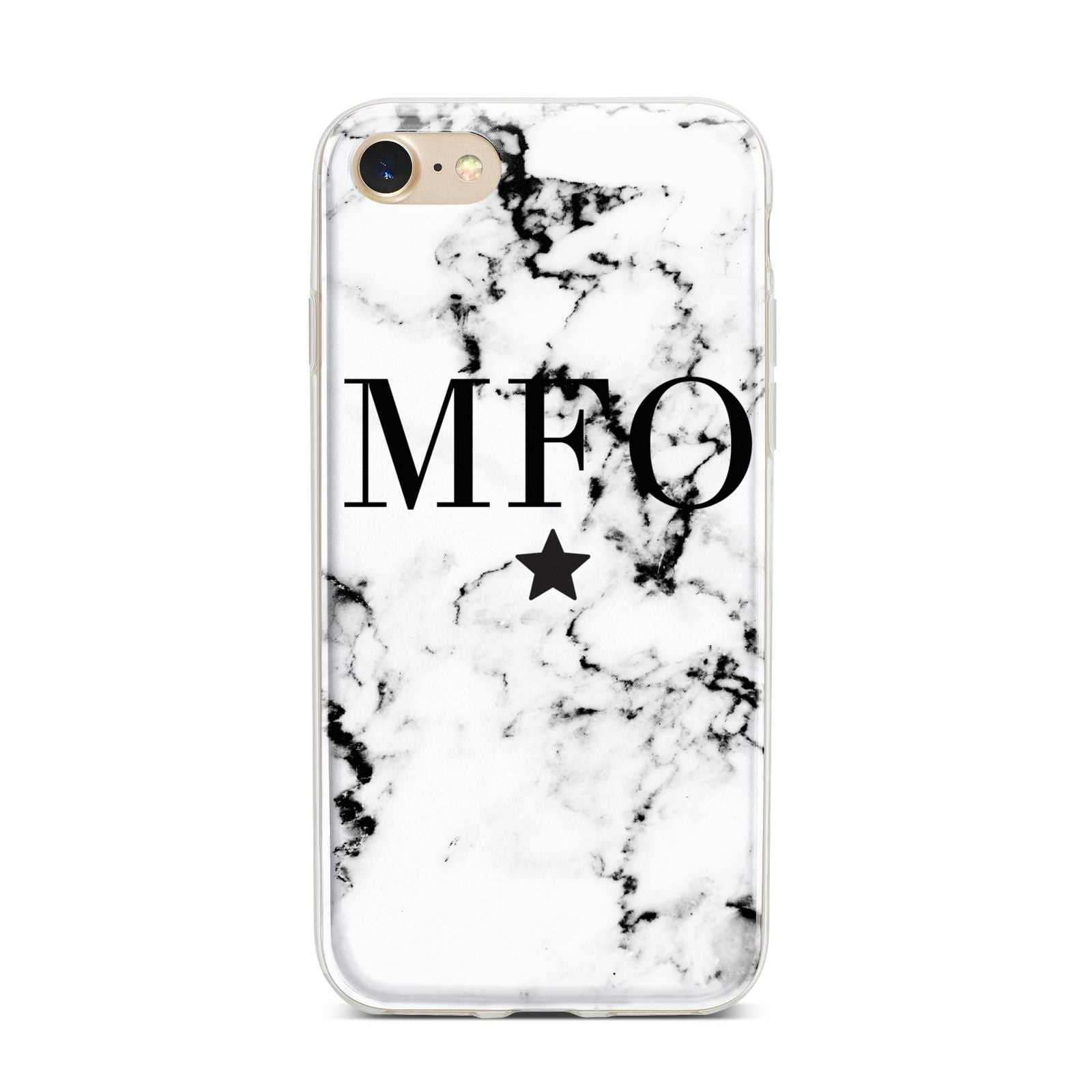 Marble Star Personalised Initials iPhone 7 Bumper Case on Gold iPhone
