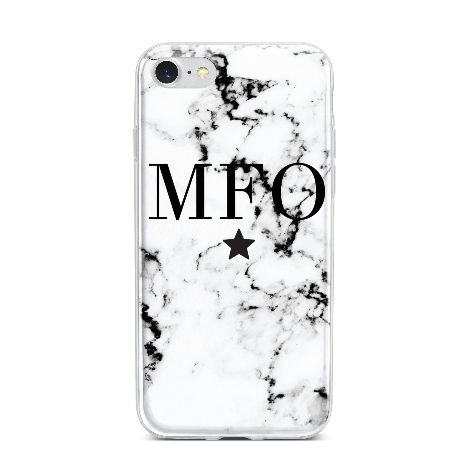 Marble Star Personalised Initials iPhone 7 Bumper Case on Silver iPhone