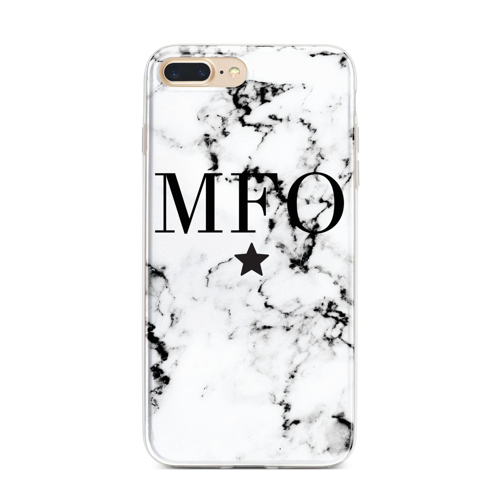 Marble Star Personalised Initials iPhone 7 Plus Bumper Case on Gold iPhone