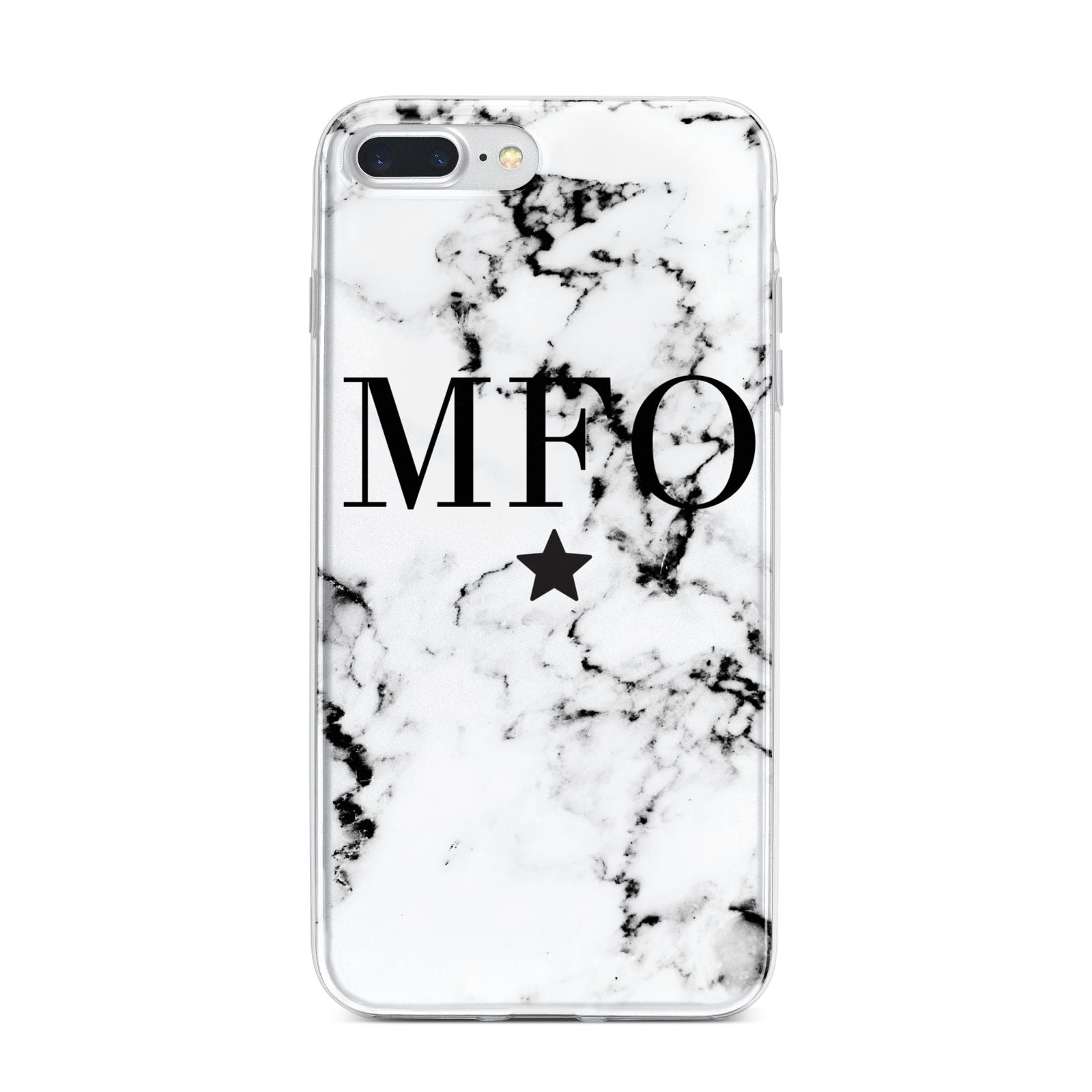 Marble Star Personalised Initials iPhone 7 Plus Bumper Case on Silver iPhone