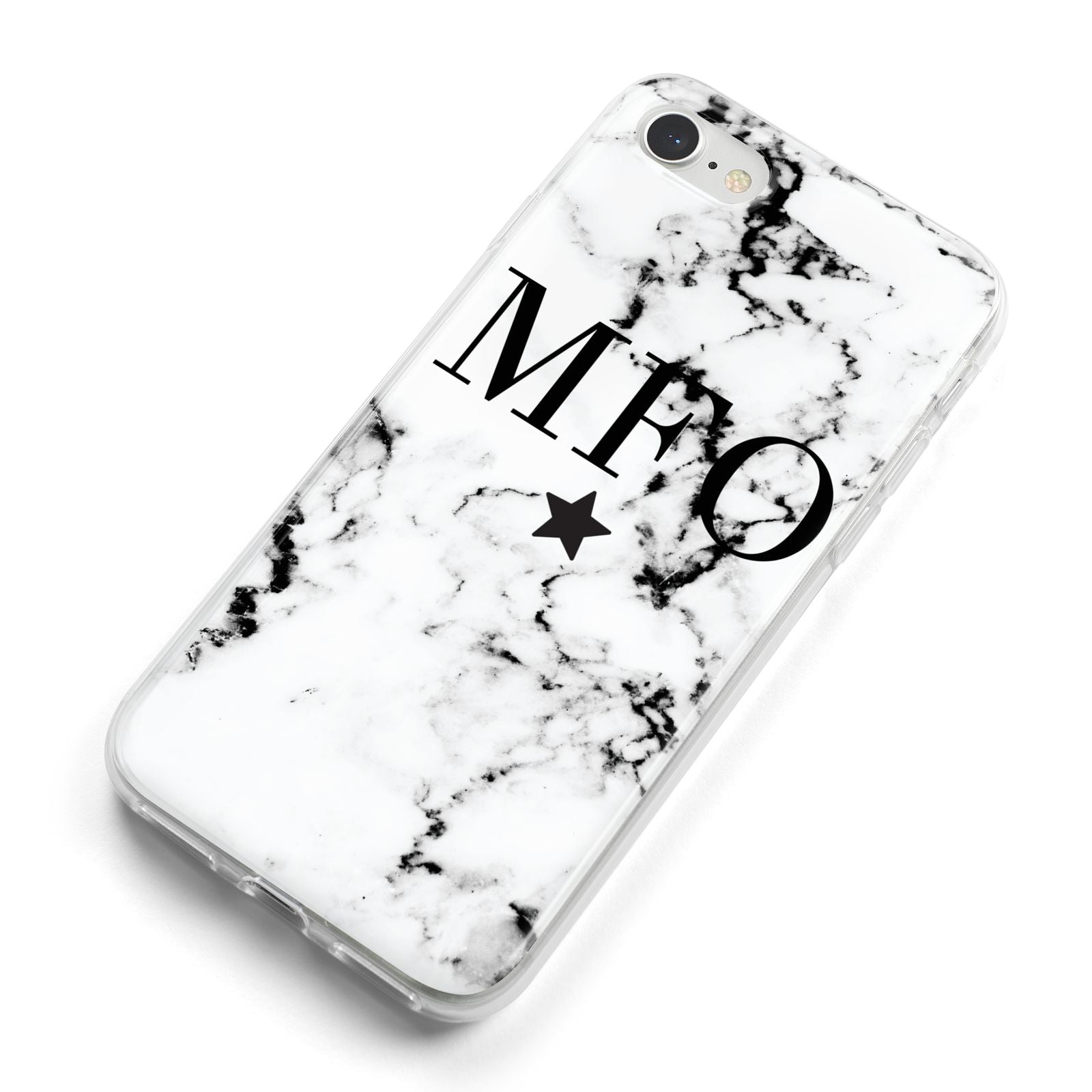 Marble Star Personalised Initials iPhone 8 Bumper Case on Silver iPhone Alternative Image