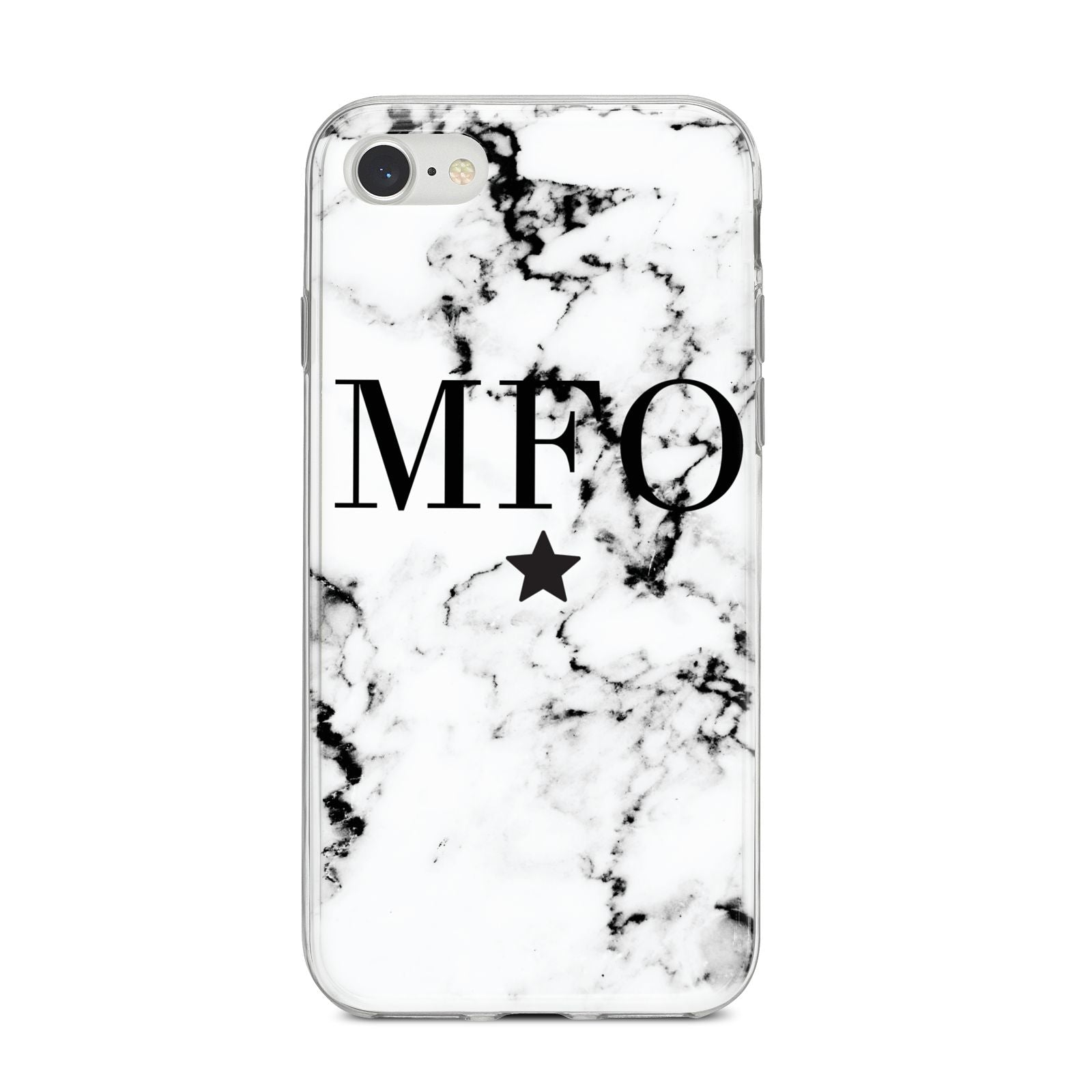 Marble Star Personalised Initials iPhone 8 Bumper Case on Silver iPhone