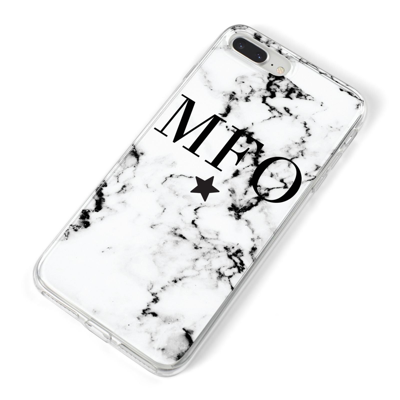 Marble Star Personalised Initials iPhone 8 Plus Bumper Case on Silver iPhone Alternative Image