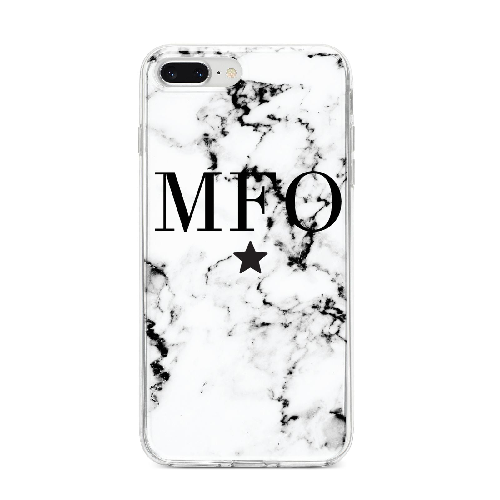 Marble Star Personalised Initials iPhone 8 Plus Bumper Case on Silver iPhone