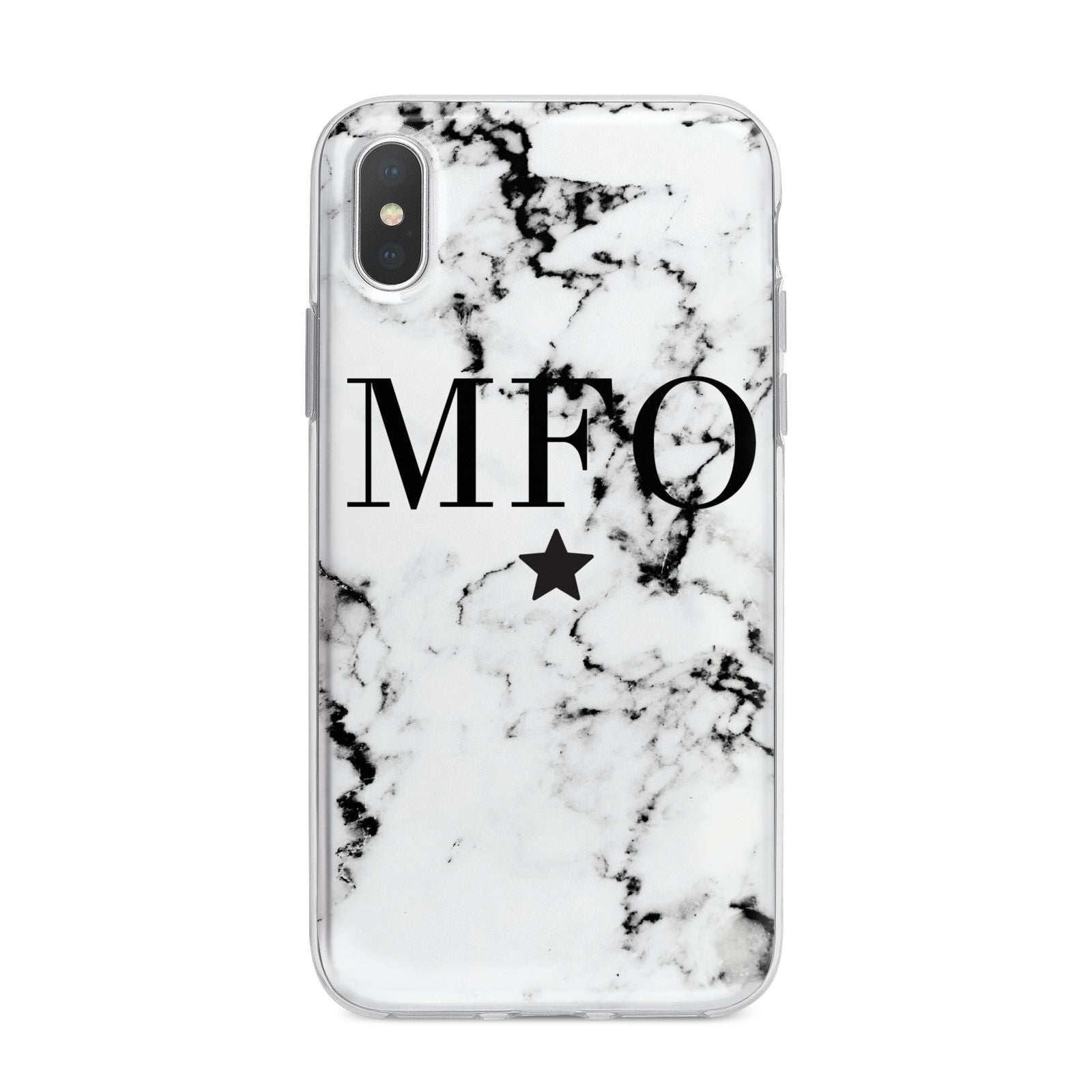 Marble Star Personalised Initials iPhone X Bumper Case on Silver iPhone Alternative Image 1