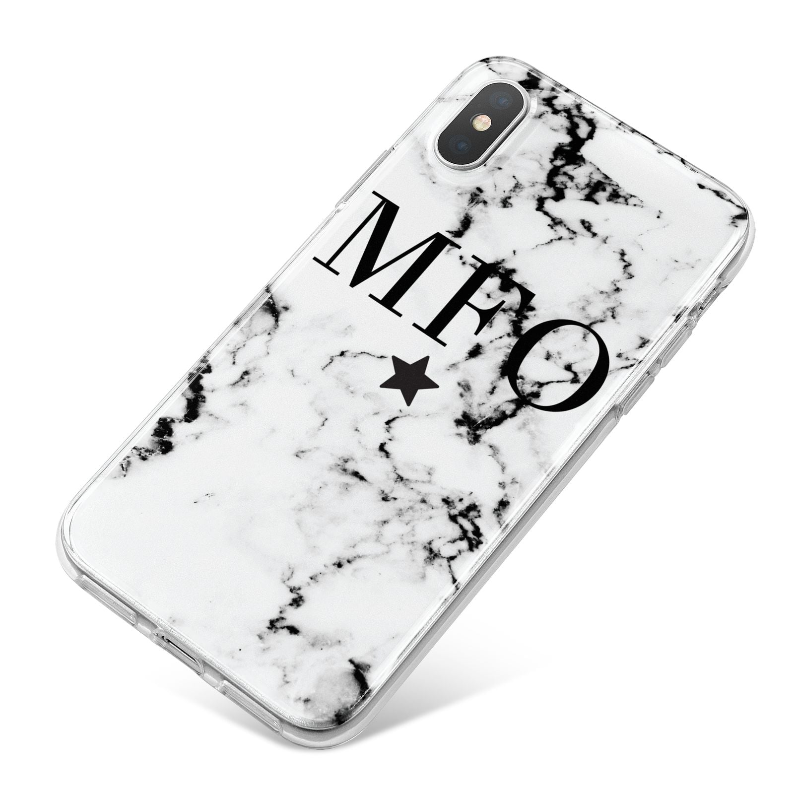 Marble Star Personalised Initials iPhone X Bumper Case on Silver iPhone