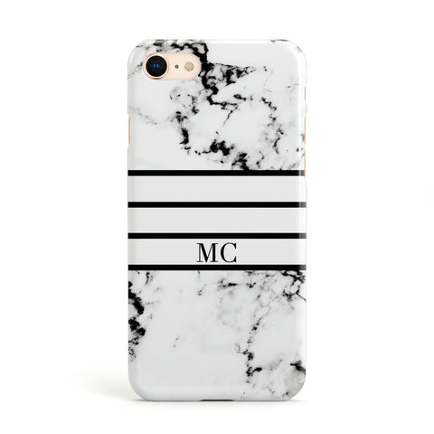 Marble Stripes Initials Personalised Apple iPhone Case