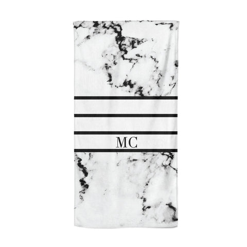 Marble Stripes Initials Personalised Beach Towel