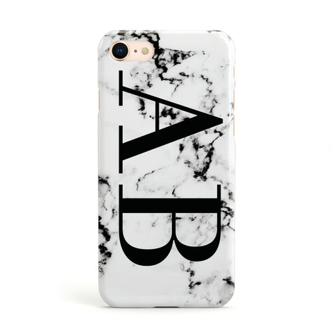 Marble Vertical Initials Personalised Apple iPhone Case
