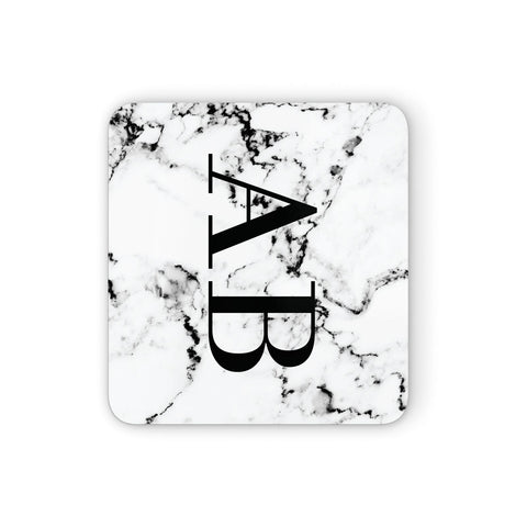 Marble Vertical Initials Personalised Coasters set of 4