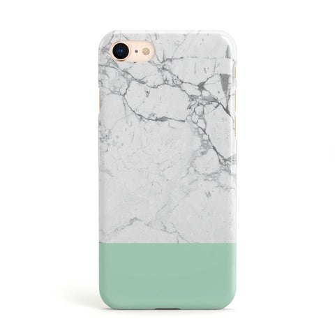 Marble White Carrara Green Apple iPhone Case