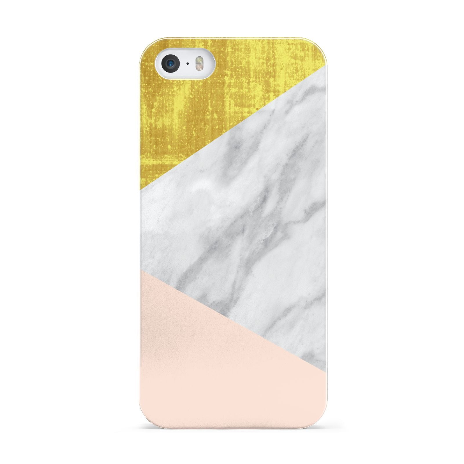 Marble White Gold Foil Peach Apple iPhone 5 Case