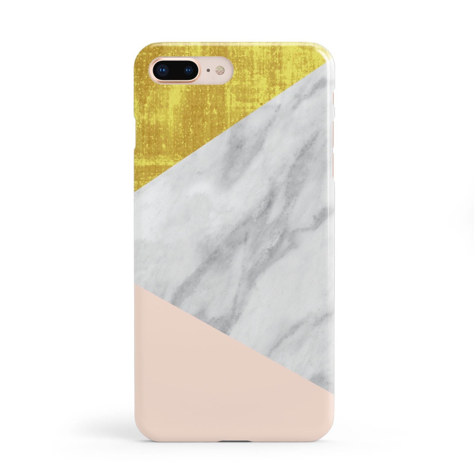 Marble White Gold Foil Peach Apple iPhone 8 Plus Case