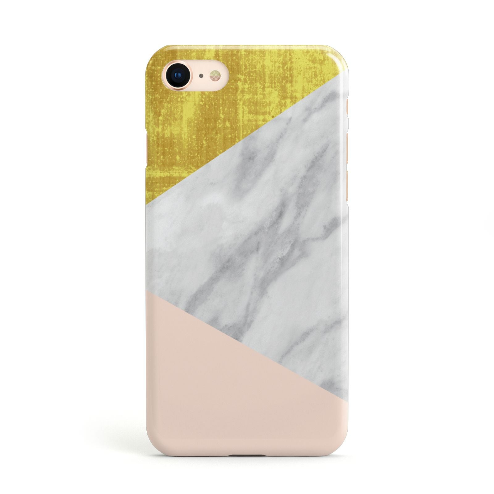 Marble White Gold Foil Peach Apple iPhone Case