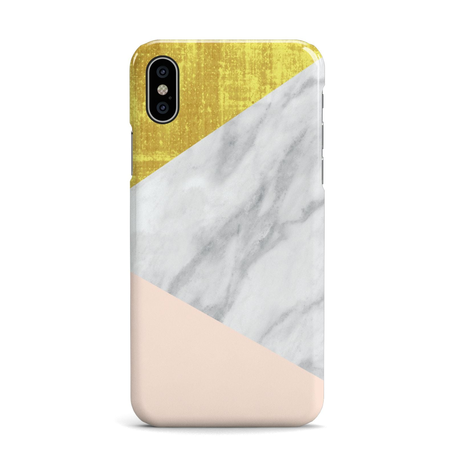 Marble White Gold Foil Peach Apple iPhone X Case