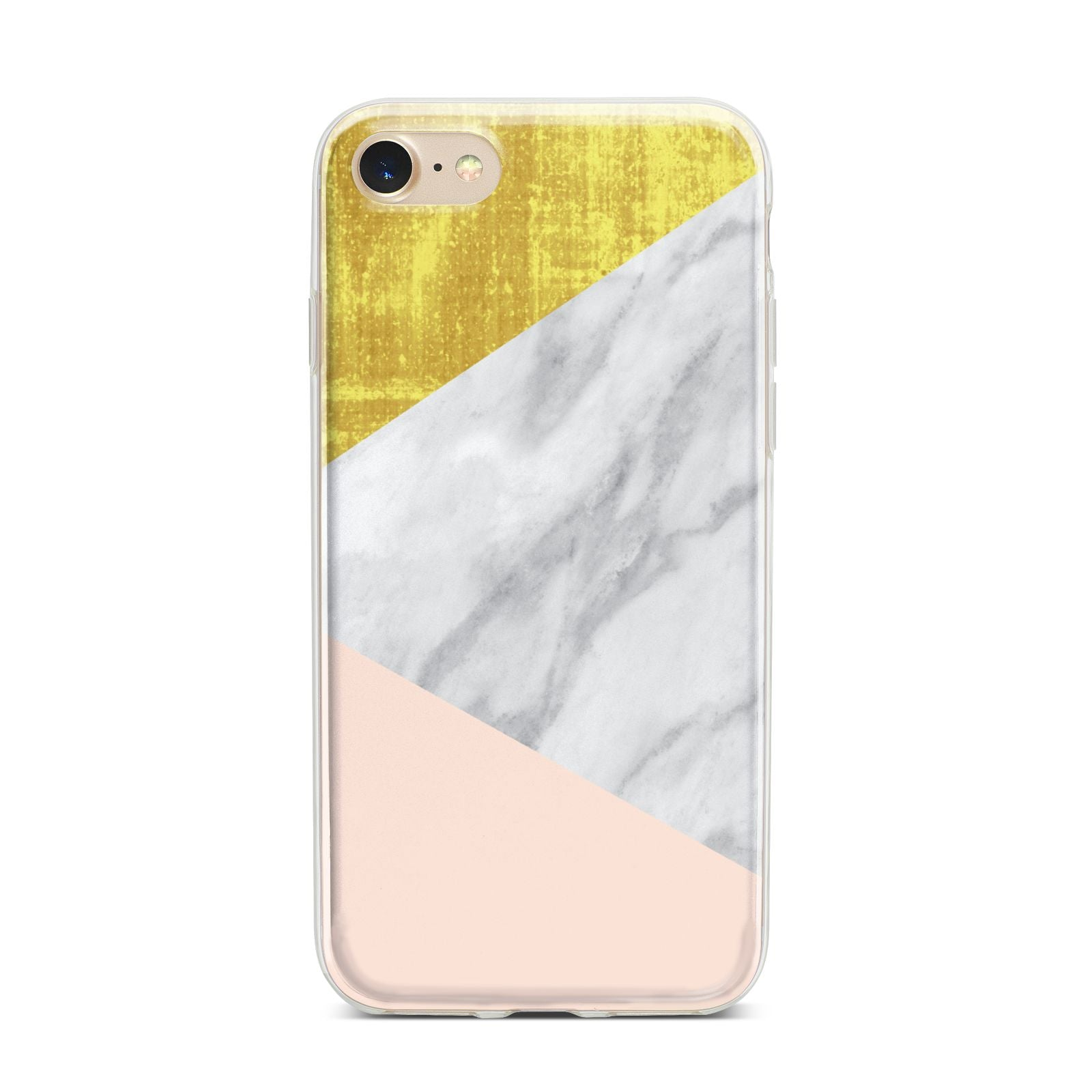 Marble White Gold Foil Peach iPhone 7 Bumper Case on Gold iPhone