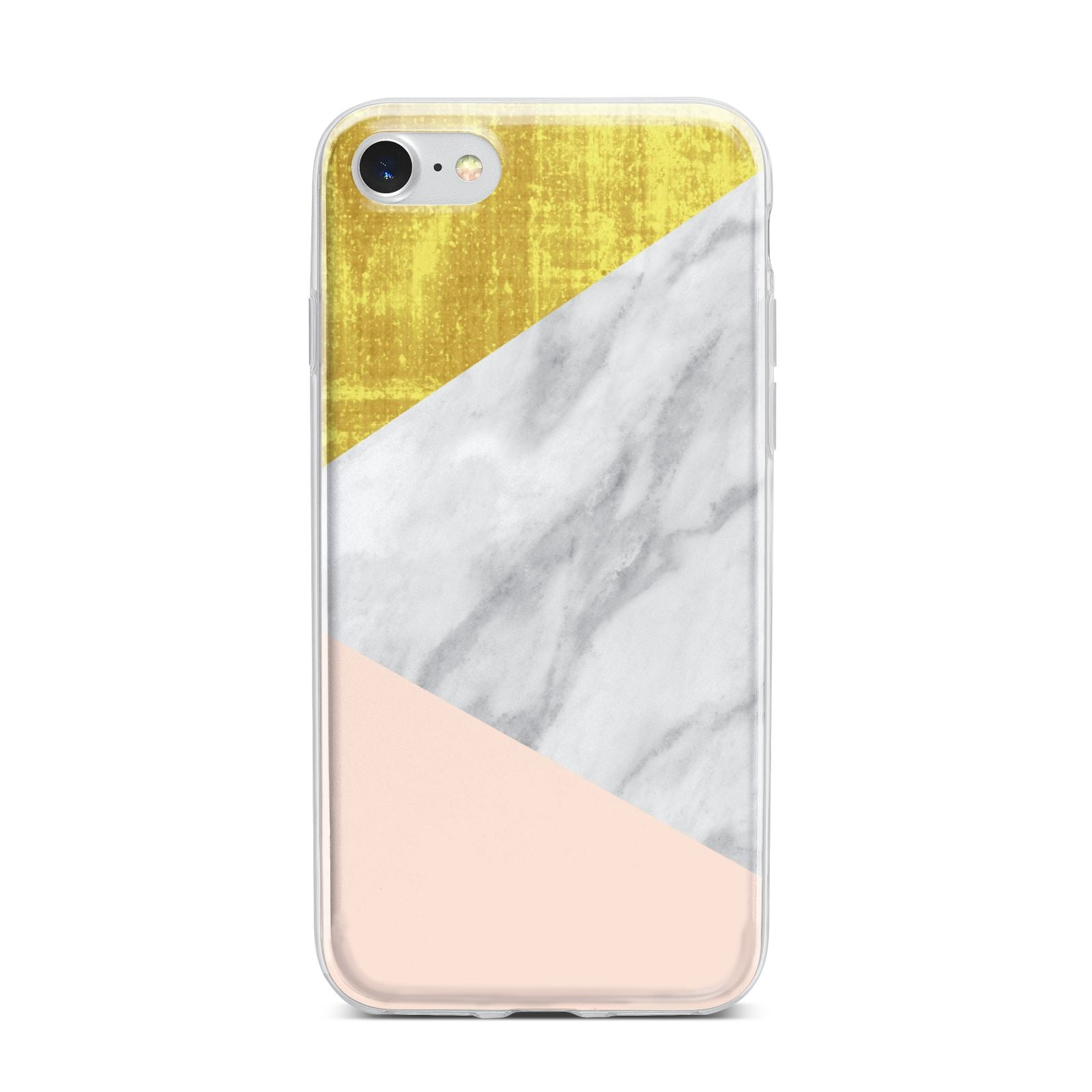 Marble White Gold Foil Peach iPhone 7 Bumper Case on Silver iPhone