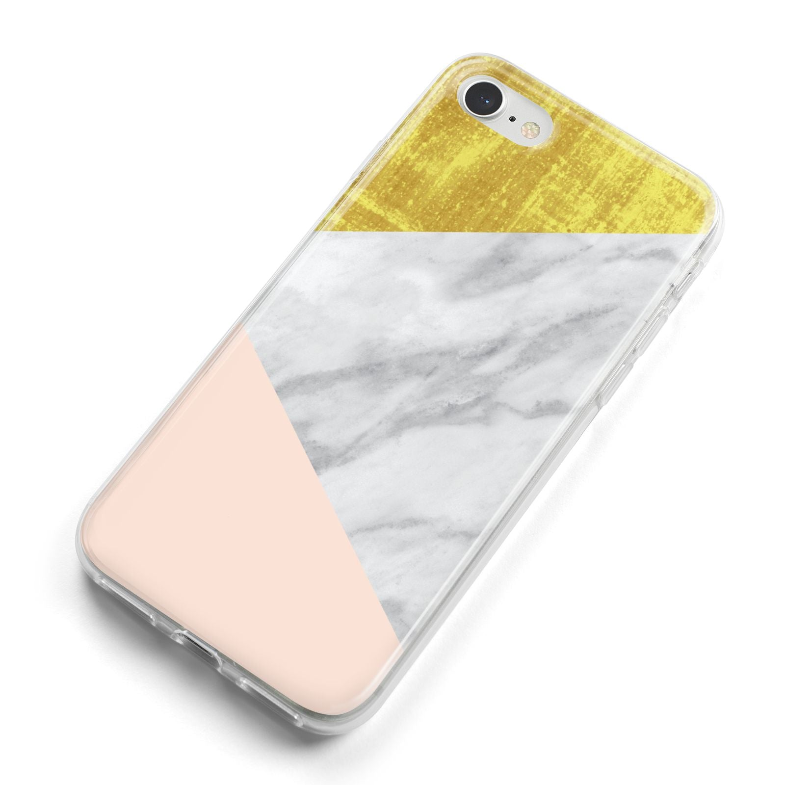 Marble White Gold Foil Peach iPhone 8 Bumper Case on Silver iPhone Alternative Image