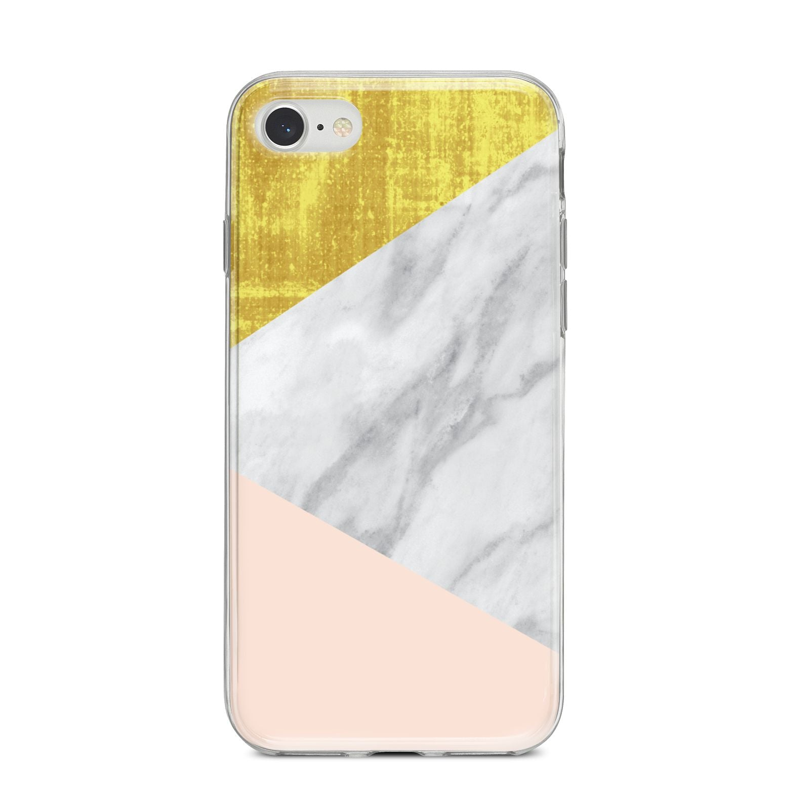 Marble White Gold Foil Peach iPhone 8 Bumper Case on Silver iPhone