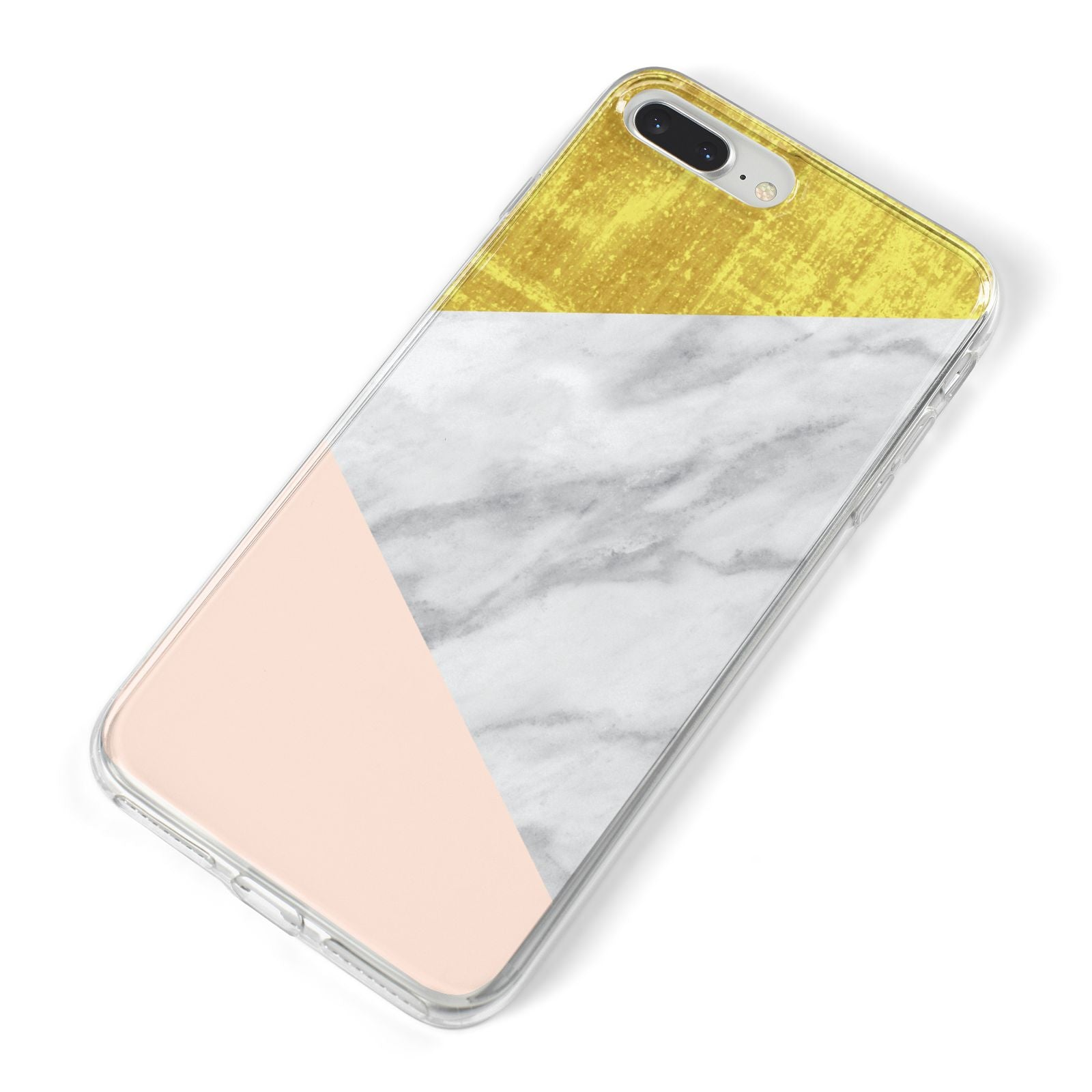 Marble White Gold Foil Peach iPhone 8 Plus Bumper Case on Silver iPhone Alternative Image