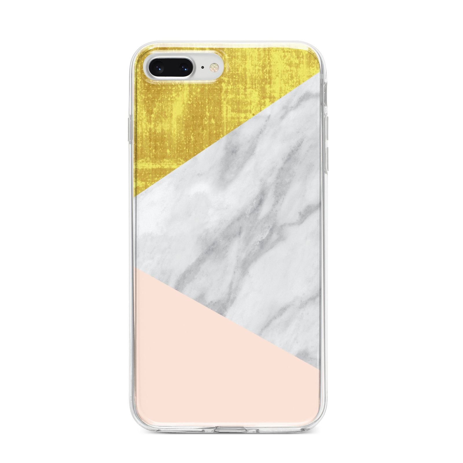 Marble White Gold Foil Peach iPhone 8 Plus Bumper Case on Silver iPhone