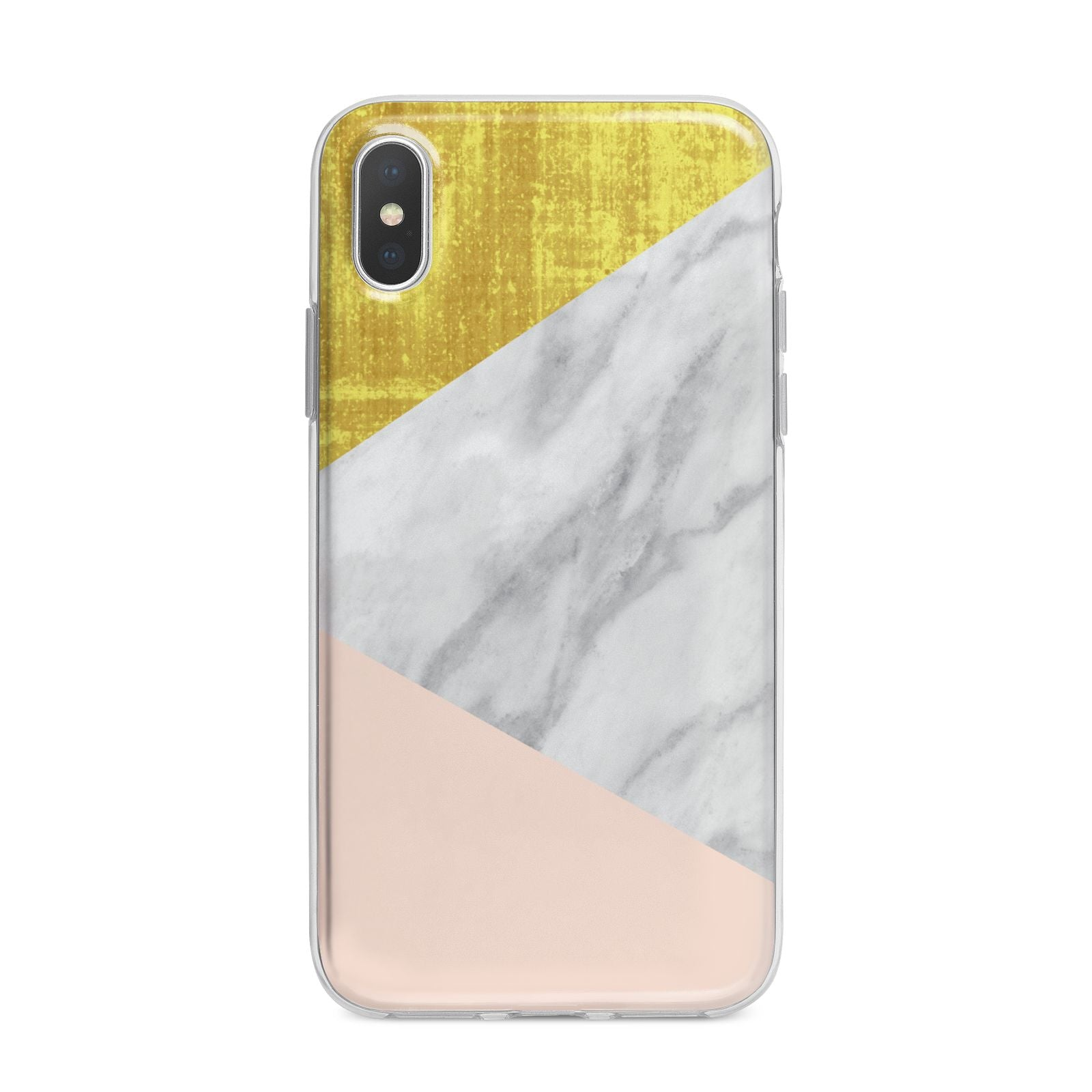 Marble White Gold Foil Peach iPhone X Bumper Case on Silver iPhone Alternative Image 1